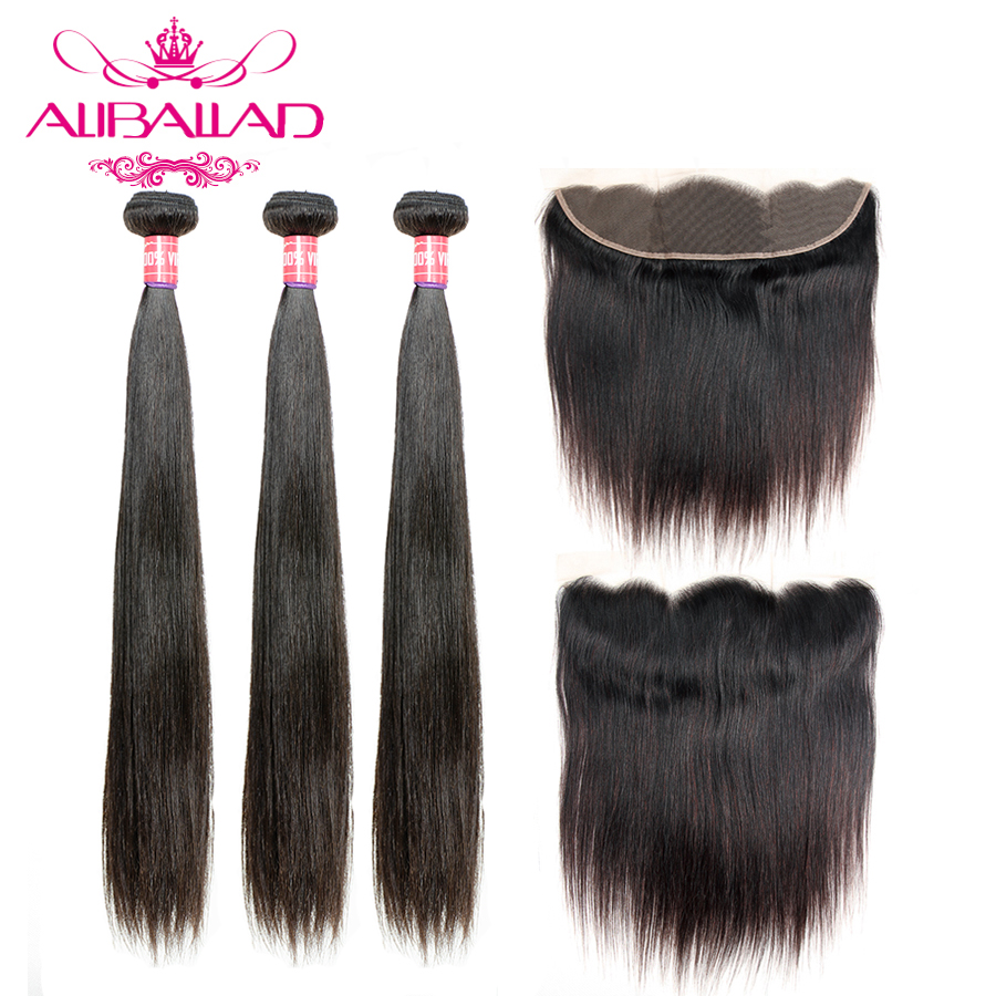 Aliballad Brazilian Human Hair Weave Straight Hair 3 Bundles With Frontal Closure Remy 13x4 Inch Lace Frontal With Bundles