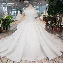 HTL163G מיוחד חתונה שמלות כמו לבן טהור חדש כבוי כתף תחרה עד בחזרה יוקרה חתונה שמלת 2019 חדש אופנה עיצוב