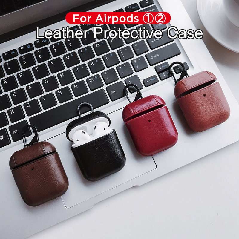 Business Leather Earphone Case For Apple Airpods 2 1 Bluetooth Headphone Shell For Air Pods Strap PU Cover Case With Hook