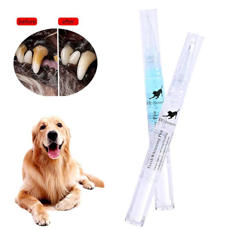 2pcs Pet Teeth Whitening Pen Kit Dog Cat Teeth Cleaning Natural Plants Tartar Remover Tool Creative Pet Toothbrush For All Pets