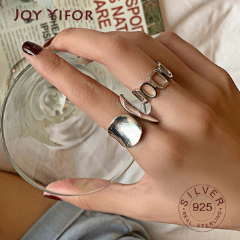 925 Sterling Silver Width Rings for Women New Fashion Creative Hollow Geometric Handmade Party Jewelry Gifts 1