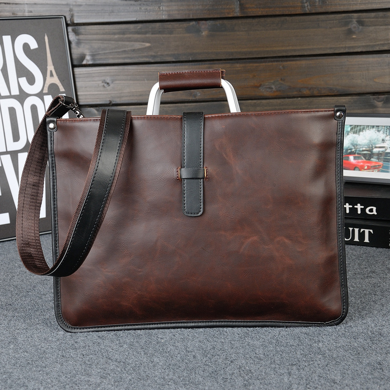 Men's Brand Designer Briefcase Crazy Horse PU Leather Handbag Business Office File Bag Vintage Messenger Bags Casual Work Tote