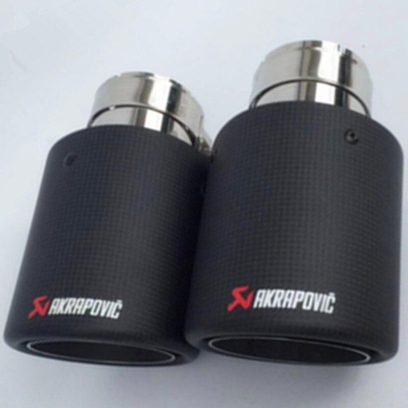 Free Shipping 2PCS Akrapovic Car Black Carbon Fiber Exhaust End Pipes Single Muffler Tips