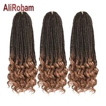 14 18 24inch Long Curly End Box Braid Ombre Brown Burgundy Crochet Braids Synthetic Braiding Hair Extensions 22Strands/pack