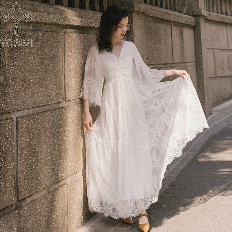 YOSIMI 2020 Summer Dress Maxi Vintage Lady Lace Long Women Dress White Evening Party V-neck Loose Dresses Female Vestidos Verano