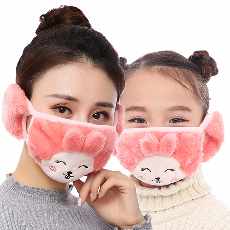 Mother And Child Cute Rabbit Ear Protective Kids Mouth Mask Windproof Mouth-muffle Anti Dust Winter Masks Children Anti Haze Flu