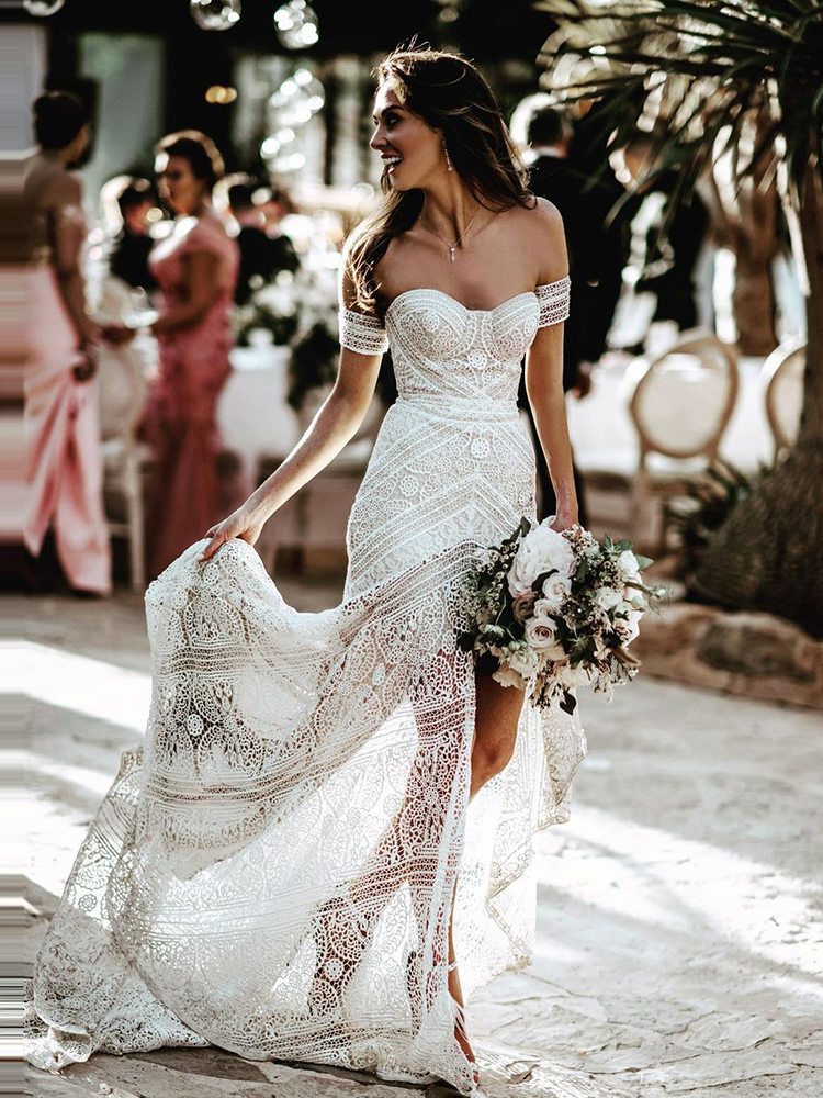 Wedding-Dresses Bridal-Gowns Mermaid Boho Bohemian Long Beach Lace Ivory-Off-The-Shoulder