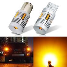 2 sztuk T20 WY21W 7440 7440NA LED błąd Canbus darmowa żarówka kierunkowskazu 7507 Bau15s PY21W LED bez lampy błyskowej Hyper Flash bursztynowy żółty VANSSI