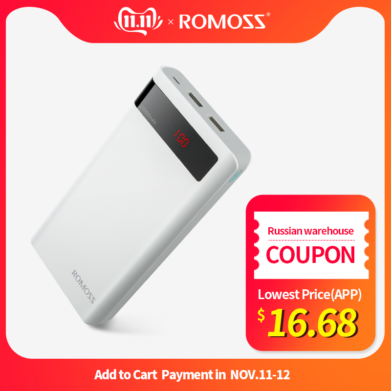 20000mAh ROMOSS Sense 6P Power Bank Dual USB Portable External Battery With LED Display Fast Portable Charger For Phones Tablet