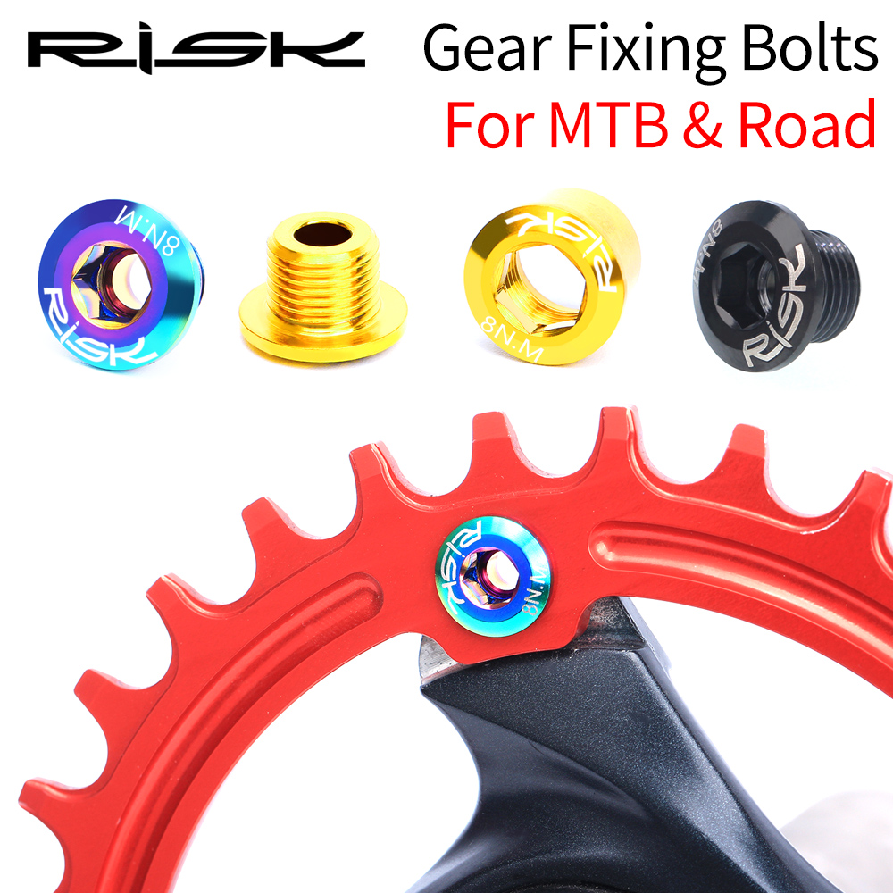 RISK Road Bike Chainring Bolts Titanium M8*10mm MTB Chainring Bolts Bike Parts