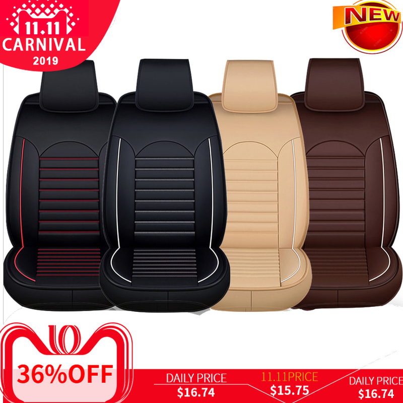 KKMOON Universal 1pc PU Leather Car auto Seat Cover car styling Accessories Cushion autocovers with Tire Track for cars styling-in Automobiles Seat Covers from Automobiles & Motorcycles