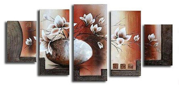Hand-Painted Vase Flower Oil Painting On Canvas 5 Pieces Abstract Paintings Modern Home Decor Wall Art Group Painting Home Decor