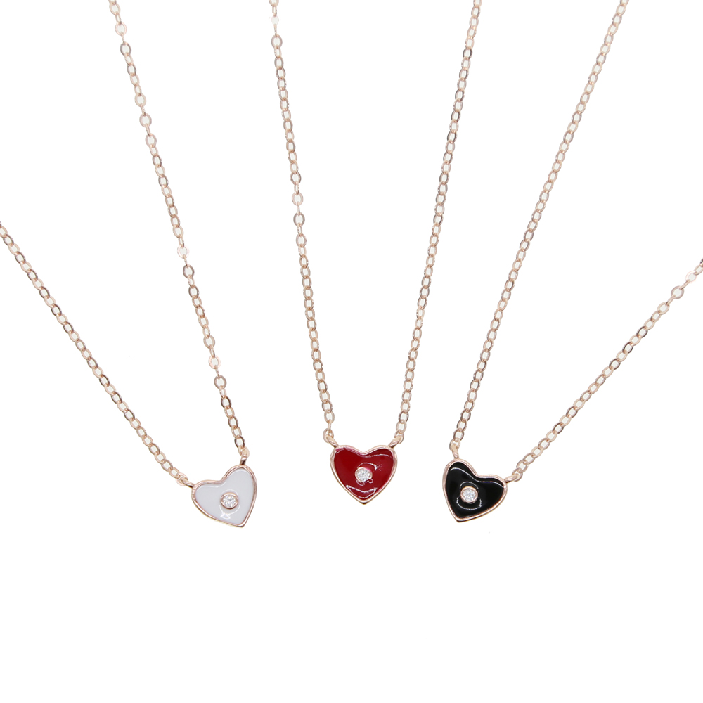 Guarantee 925 sterling silver minimal delicate jewelry mini enamel moon star heart charm choker necklace rose gold