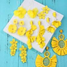 Женские серьги с кисточками flatfoosie летние желтые сережки
