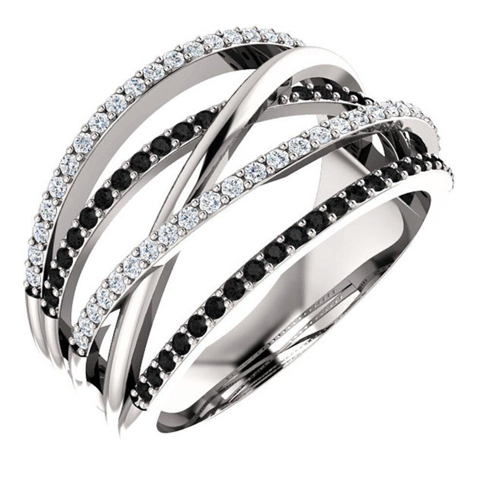 Multi-Layer Rhinestone Rings Female Luxury Black White Zircon Rings For Women Fashion Jewelry