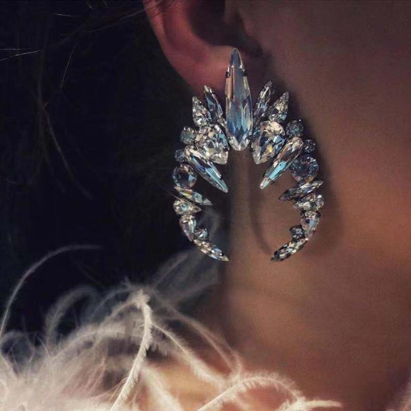 Best lady Crystal Crab Fish Drop Earrings for Women Wedding Trendy Bohemian Handmade Animal Girls Party Gift Statement Earrings