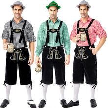 German The Munich Oktoberfest Men Traditional Plaid Shirt Bib Pants Suit Suspender Trousers Fashion Hat Beer Festival Costumes(China)