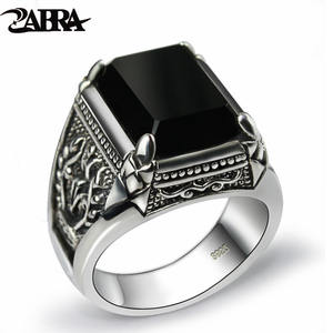 Zircon-Ring Onyx Flower Silver Jewelry Sterling-Thai Black ZABRA Real-925-Silver Engraved