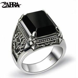 Image 1 - ZABRA Настоящее серебро 925 пробы, черное циркониевое кольцо для мужчин и женщин, гравировка цветов, модные мужские ювелирные изделия из тайского серебра, синтетический оникс