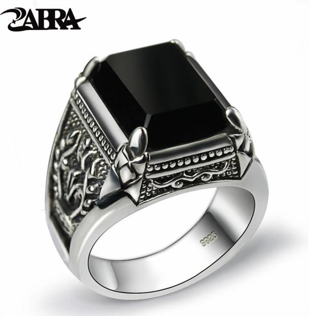 ZABRA Настоящее серебро 925 пробы, черное циркониевое кольцо для мужчин и женщин, гравировка цветов, модные мужские ювелирные изделия из тайского серебра, синтетический оникс
