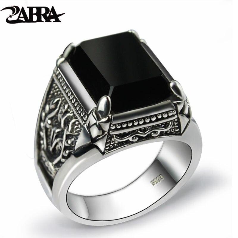ZABRA Real 925 argent noir Zircon anneau pour hommes femme gravé fleur hommes mode Sterling Thai argent bijoux synthétique Onyx
