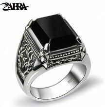 Zabra Echte 925 Zilver Zwart Zirkoon Ring Voor Mannen Vrouwelijke Gegraveerde Bloem Mannen Mode Sterling Thaise Zilveren Sieraden Synthetische Onyx