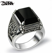 Zebra gerçek 925 gümüş siyah zirkon yüzük erkekler kadınlar için oyulmuş çiçek erkekler moda gümüş tay gümüş takı sentetik oniks