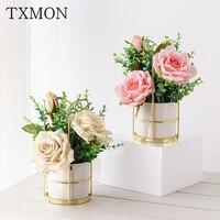 Nordic Simulation Blume Set Keramik Goldene Vase Rose Blumen Künstliche Pflanzen Topf Home Party Villa Wohnzimmer Dekoration