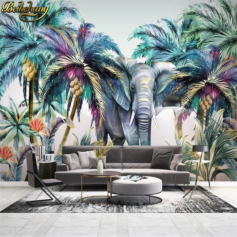 Beibehang Custom Tropical Jungle Elephant Wall Mural Wallpaper For Bedroom Photo Background Wall Papers Home Decor Living Room