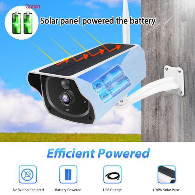 Outdoor Solar Security Camera 1080P Wireless WiFi Camera Solar Panel Rechargeable Battery Bullet PIR Motion Alarm Two Way Audio 2