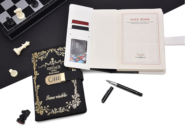 A5 Retro Notebook Password Book with Lock Creative School Office Supplies Stationery Personal Diary Journal Cover planner