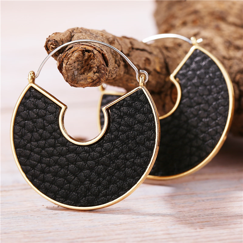 He34f3b97ae83421bb66c1f980c6032fdh - IF ME Fashion Leather Circle Hoop Earrings Big Round Korean Earring Alloy Metal Red Colorful Brincos 2020 New Jewelry Gift