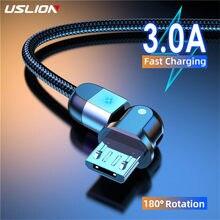 Uslion micro cabo usb carregador rápido 3a 180 rotação cabo de dados para samsung s7 xiaomi redmi nota 5 android telefone cabo usb carregador