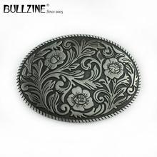 Bullzine commercio allingrosso in lega di zinco fiore Occidentale cintura fibbia finitura peltro fp FP 02590 cowboy jeans regalo fibbia della cintura
