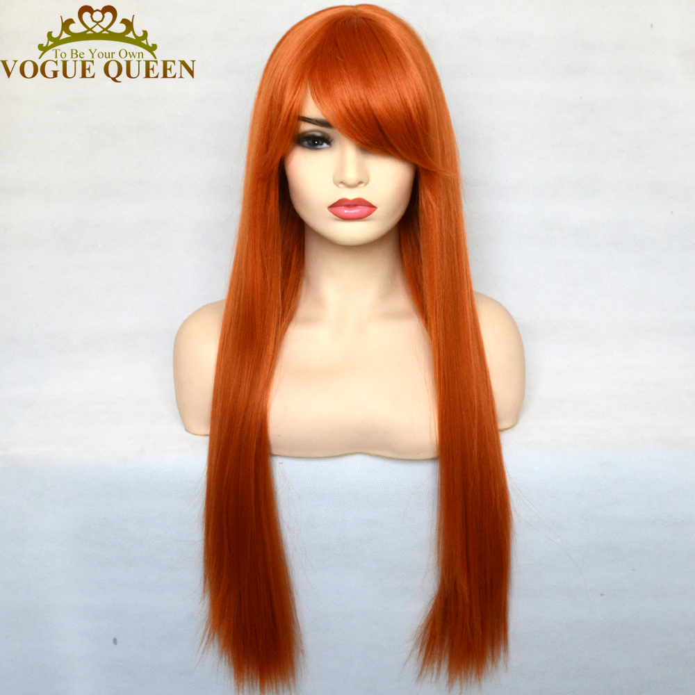 Vogue rainha laranja longa seda peruca reta sintética com franja completa máquina feita peruca resistente ao calor para mulher