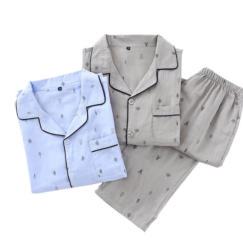 Spring And Summer New Men's Pajamas Set Solid Color Simple Style Sapling Printed Turn-down Collar Sleepwear Men Loose Homewar