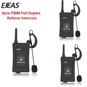 Image 1 - 3pcs האחרון EJEAS מותג FBIM כדורגל כדורגל שופט אופנוע Bluetooth אינטרקום מלא דופלקס BT שופט אוזניות עם FM רדיו