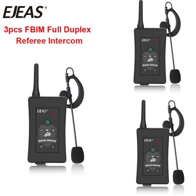 3pcs האחרון EJEAS מותג FBIM כדורגל כדורגל שופט אופנוע Bluetooth אינטרקום מלא דופלקס BT שופט אוזניות עם FM רדיו