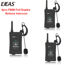 3pcs Latest EJEAS Brand FBIM Football Soccer Referee Motorcycle Bluetooth Intercom Full Duplex BT Referee Headset with FM Radio