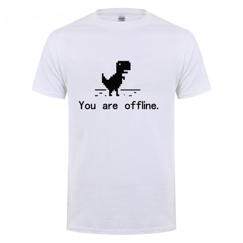 You Are Offline <font><b>Error</b></font> <font><b>404</b></font> Page Computer Dinosaur T <font><b>Shirt</b></font> Funny Birthday Gift For Men Husband Boyfriend Programmer Cotton T-<font><b>Shirt</b></font> image