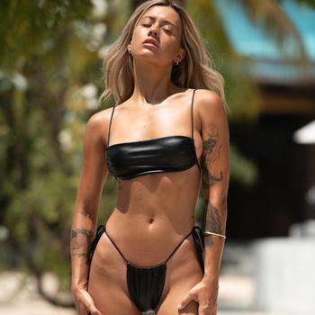 Brazilian Style Pleated String Bikini Swimsuit 1