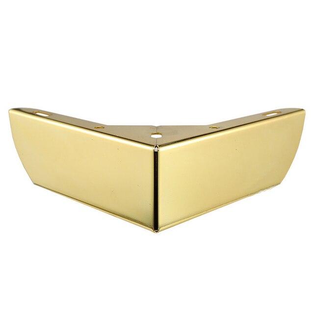 4pcs זהב מתכת ריהוט רגליים עם גומי רגליים כרית ארון שולחן רגליים חומרת ספה ריהוט רגל רמה