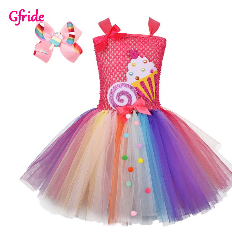 Rainbow Candy Fairy For Girls Birthday Party Clothes Kids Rainbow Lollipop Flower Tutu Dress and Headband Mardi Gras Carnival