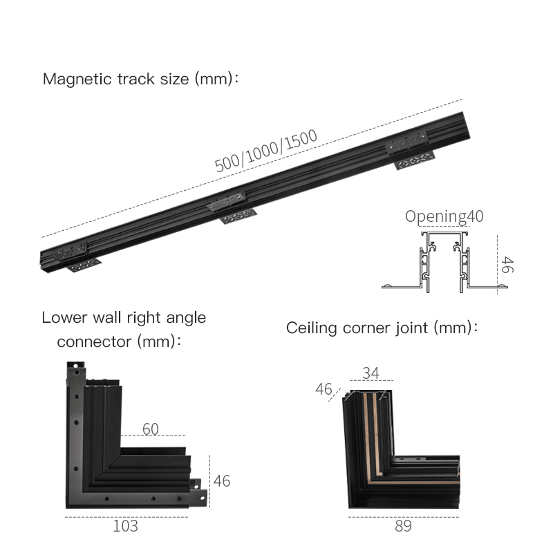 (Mini) SCON New arrival 24V Creative aluminum 34mm recessed track rails for magnet track lights series