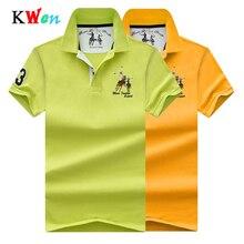 Hoge Kwaliteit Tops Mannen Polo shirts Business plus size polo Shirts Pure kleur borduren revers zachte mannen korte mouwen polo shirt