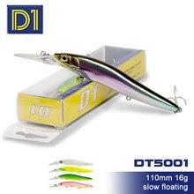D1 groundbait para pesca wobblers de pique 110mm16g lento flutuante minnow energia longa fundição cores naturais jerkbait baixo