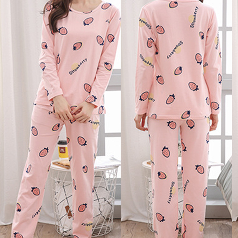 Women's Pajama Set Soft Long Sleeve Sleepwear With Cute Bear Pattern Sleep Wear Soft Milk Silk Autumn Pajamas For Women HX1219