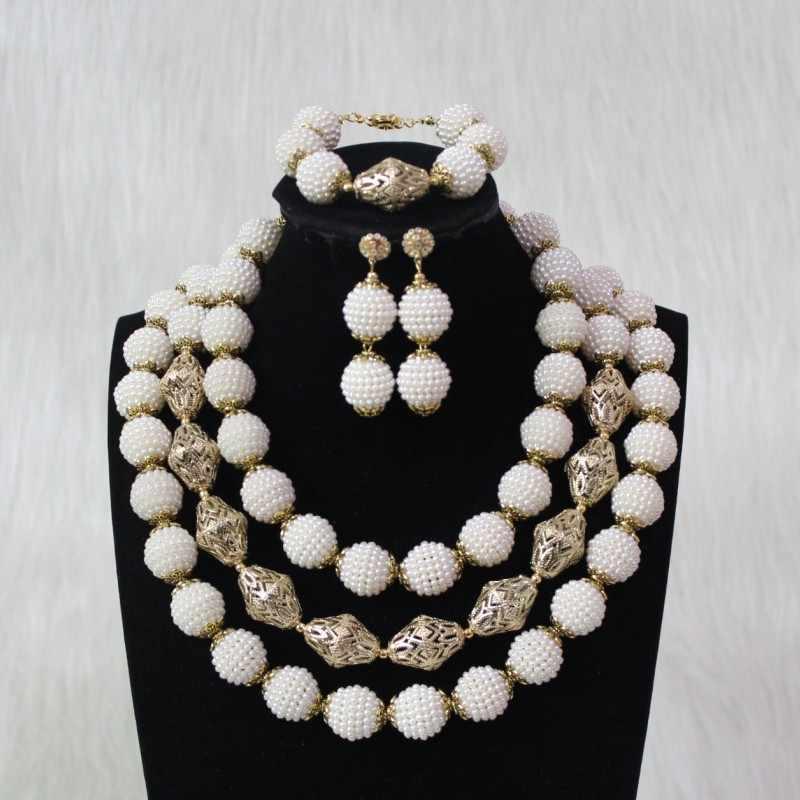 4 ujewelry godki luxo feminino conjunto de jóias branco e ouro acrílico colar africano instrução 3 camadas conjunto de jóias dubai moda