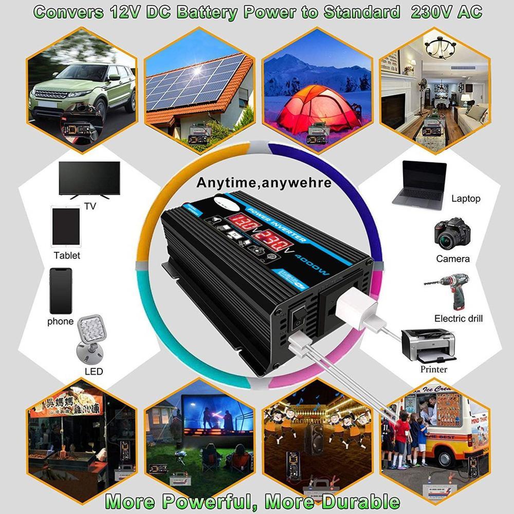 4000W 12V zu 220 V/110 V LED Auto Power Inverter Konverter Ladegerät Adapter Dual USB Spannung transformator Modifizierte Sinus Welle