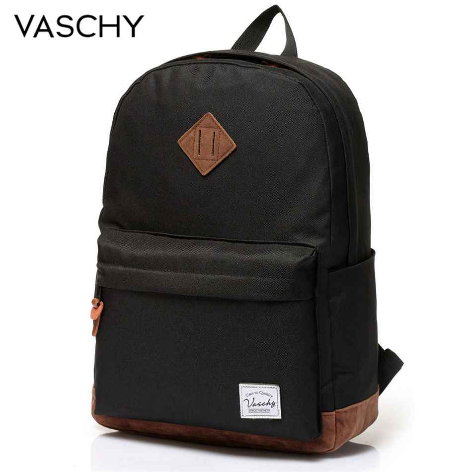 Backpack for Men and Women VASCHY Unisex Classic Water Resistant Rucksack School Backpack 14Inch Laptop for TeenageR
